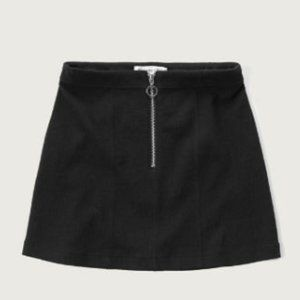 NWT Abercrombie ALine Black Circle Zip Front Skirt